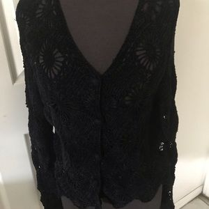 90's Original Black velvet knitted Cardigan